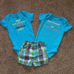 3-6 month boy short outfit